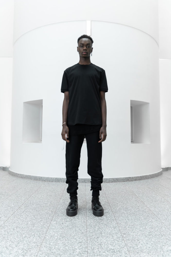 T shirt classique coton interlock bio noir broderie 3D