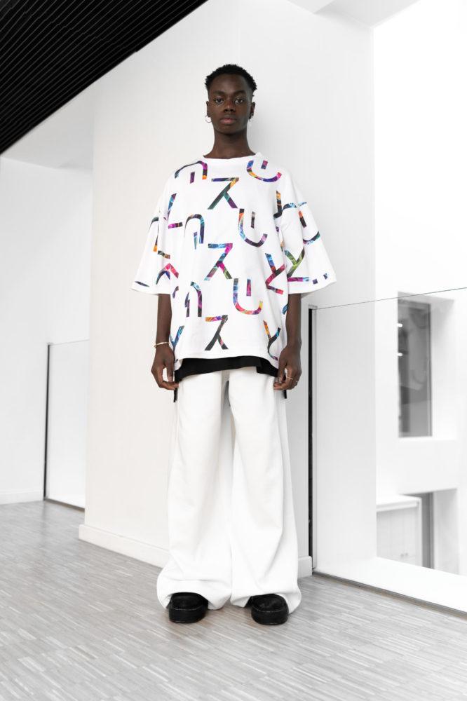 T shirt oversize taille unique unisexe imprimé grand logo bio
