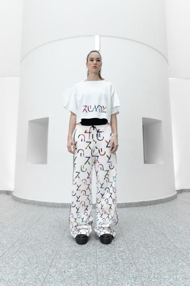 crop top unisexe manche kimono coton bio impression logo couleur