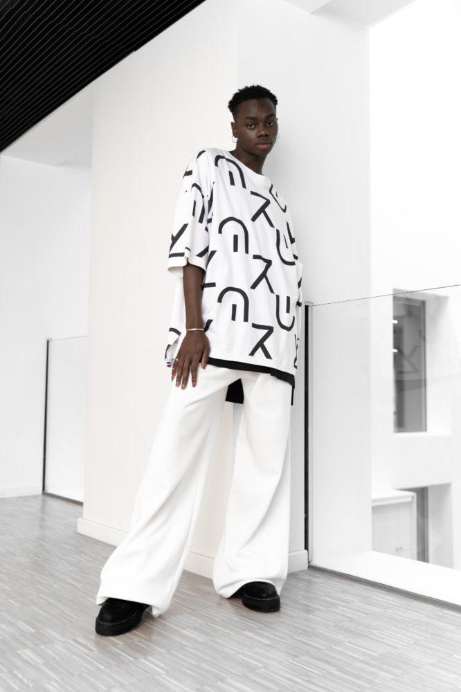 t shirt taille unique oversize unisexe coton bio imprimé bio noir